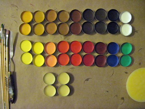Finished collection of colors, with raw wax medium at the bottom of the photo