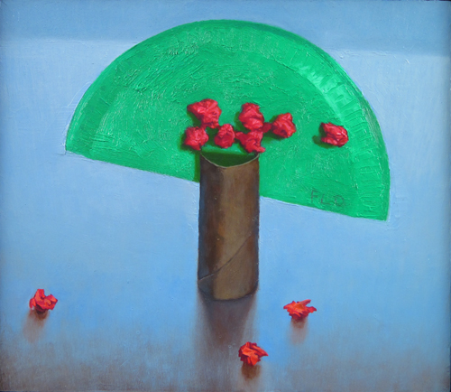 a tree for our joy: memorial, oil on panel, 9.25x 10.5, 2010