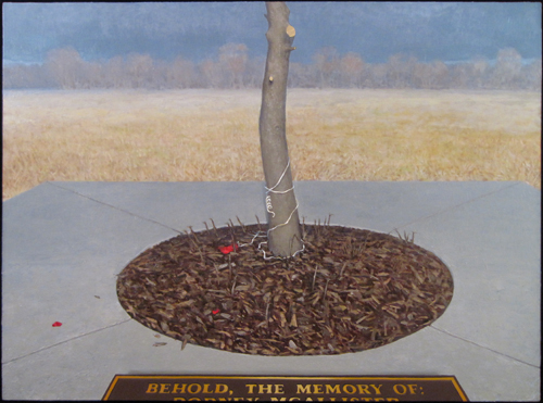a tree for our sorrow: memorial, oil on canvas, 40x 54, 2010