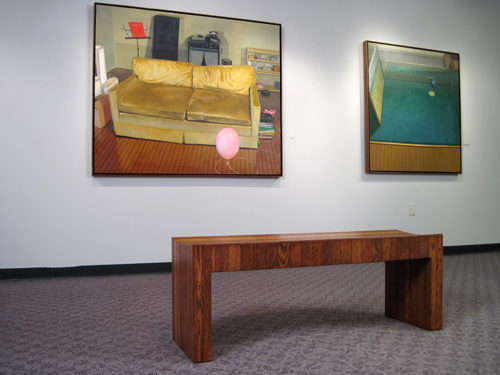 installation view with bench