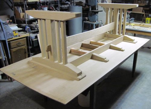 All parts in place-- I made the central stretcher today, which has a soft curve along its bottom edge (the top edge in the photo) and a through-tenon at each end.