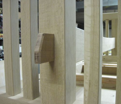 Detail of the through-tenon.  It will have a maple pin that runs from top to bottom, securing it in place.