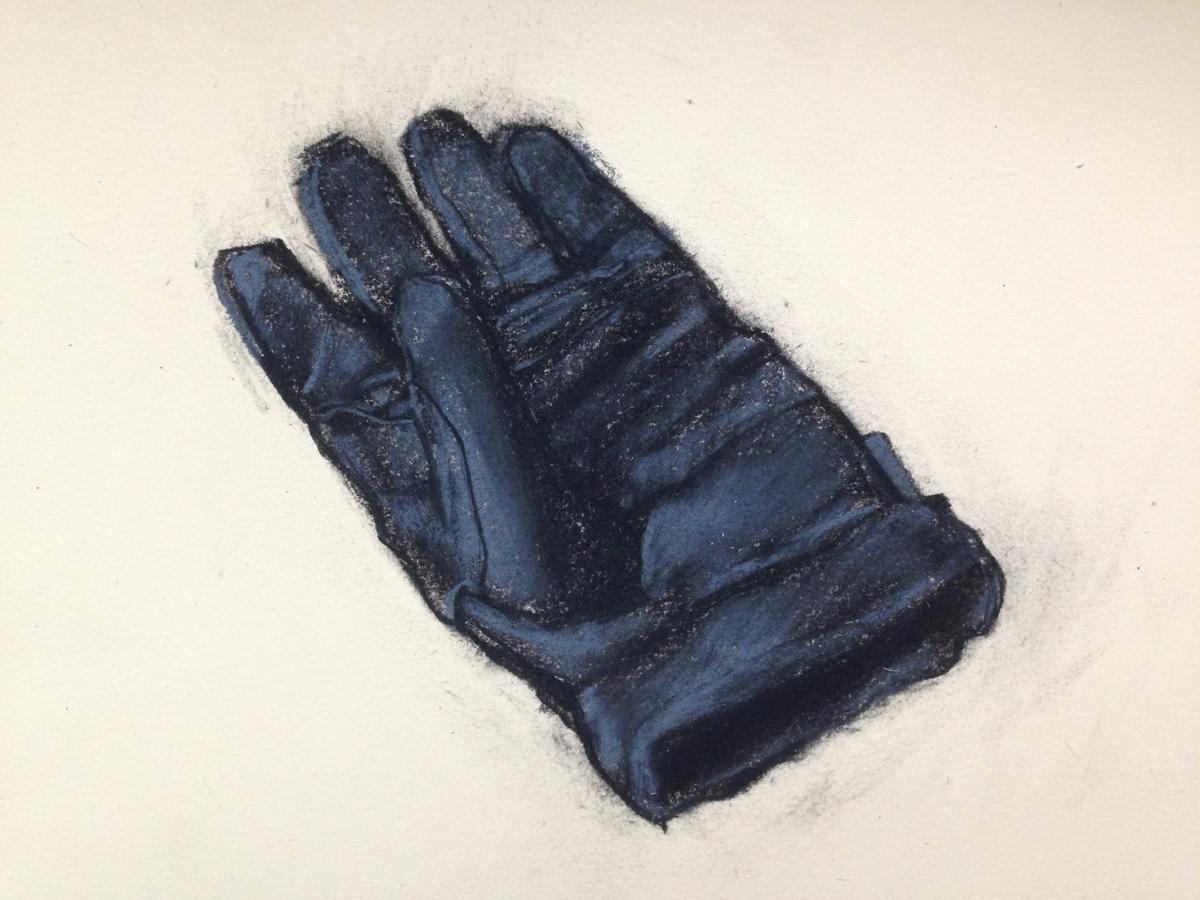 "glove study, 11"" x 15"", pastel on paper, 2013"