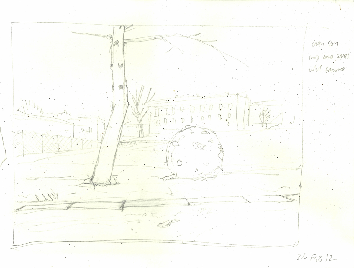 "snowball study (memory), 8.25"" x 11.5"", pencil on paper, 2012"