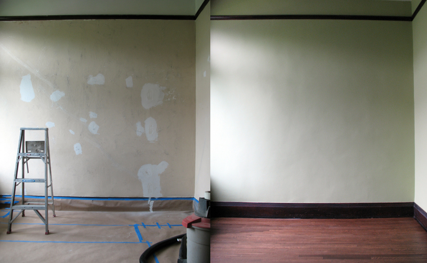 before and after, main wall