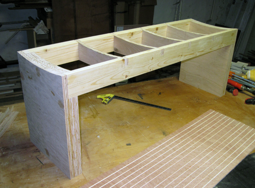 core structure of the bench before cladding